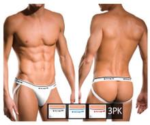705910W-100 Papi Men's 3PK Rib Jockstrap Color White