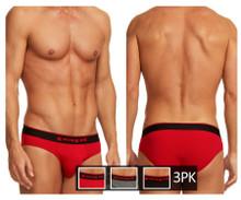 980403-950 Papi Men's 3PK Cotton Stretch Briefs Color Red-Gray-Black