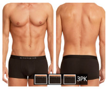980501-001 Papi Men's 3PK Cotton Stretch Brazilian Solids Color Black