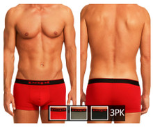 980501-950 Papi Men's 3PK Cotton Stretch Brazilian Solids Color Red-Gray-Black