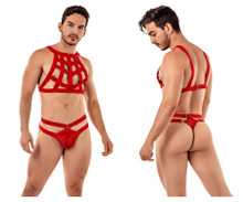 99419 CandyMan Men's Cage Harness Thong Color Red