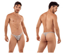 99420 CandyMan Men's Double Lace Thong Color Gray