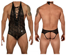 99436 CandyMan Men's Halter Body-Jockstrap Color Black