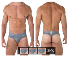 91031-3 Xtremen Men's 3PK Piping Thongs Color Jasper Gray