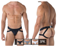 91054-3 Xtremen Men's 3PK Double Strap Jockstrap Color Black-White-Gray