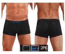 626182-968 Papi Men's Cool 2PK Brazilian Trunks Color Black-Blue