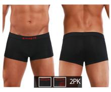626182-982 Papi Men's Cool 2PK Brazilian Trunks Color Black-Red