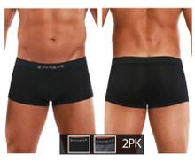626183-962 Papi Men's Cool 2PK Brazilian Trunks Color Black-Gray