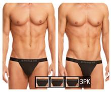 980902-001 Papi Men's 3PK Cotton Stretch Thong Color Black