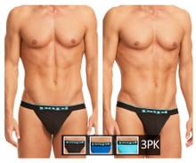 980902-941 Papi Men's 3PK Cotton Stretch Thong Color Black-Cobalt-Blue