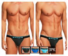 980911-941 Papi Men's 3PK Cotton Stretch Jockstrap Color Black-Cobalt-Blue