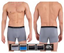 990002-968 Papi Men's 4PK Boxer Briefs Color Gray-Blue-Black-Black
