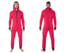 99473 CandyMan Hooded Lounge Onesie Color Red