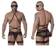 99483 CandyMan Men's Lace Garter Bodysuit Color Black