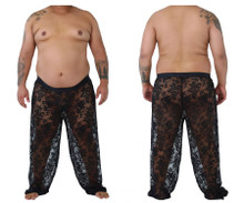99234X CandyMan Lace Lounge Pants Color Black