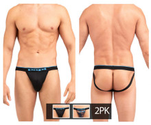 UMPA006 Papi Men's 2PK Jockstrap Color Black-Blue