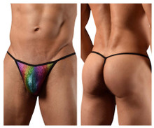 1300-RBW Doreanse Men's Disco Thong Color Rainbow
