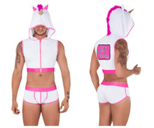 99520 CandyMan Unicorn Hoodie and Trunk Set Color White-Hot Pink