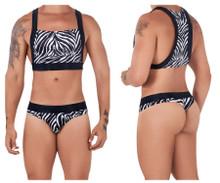 99524 CandyMan Men's Halter Top and Thong Set Color Black-Zebra