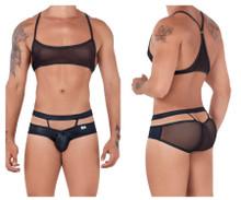 99525 CandyMan Men's Mesh Top and Bikini Set Color Black