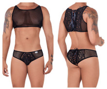 99526 CandyMan Men's Mesh and Lace Top and Bikini Set Color Black