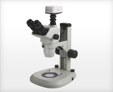 Accu-Scope 3075 Trinocular Zoom Stereo Microscope on LED Stand, shown with optional camera