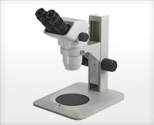 Accu-Scope 3075 Binocular Zoom Stereo Microscope on Coaxial Coarse / Fine Focus LED Stand, shown on Plain Focusing Stand