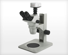 Accu-Scope 3075 Trinocular Zoom Stereo Microscope on Plain Focusing Stand, shown with Optional Camera