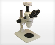 Accu-Scope 3075 Trinocular Zoom Stereo Microscope on Pole Stand, shown with Optional Camera