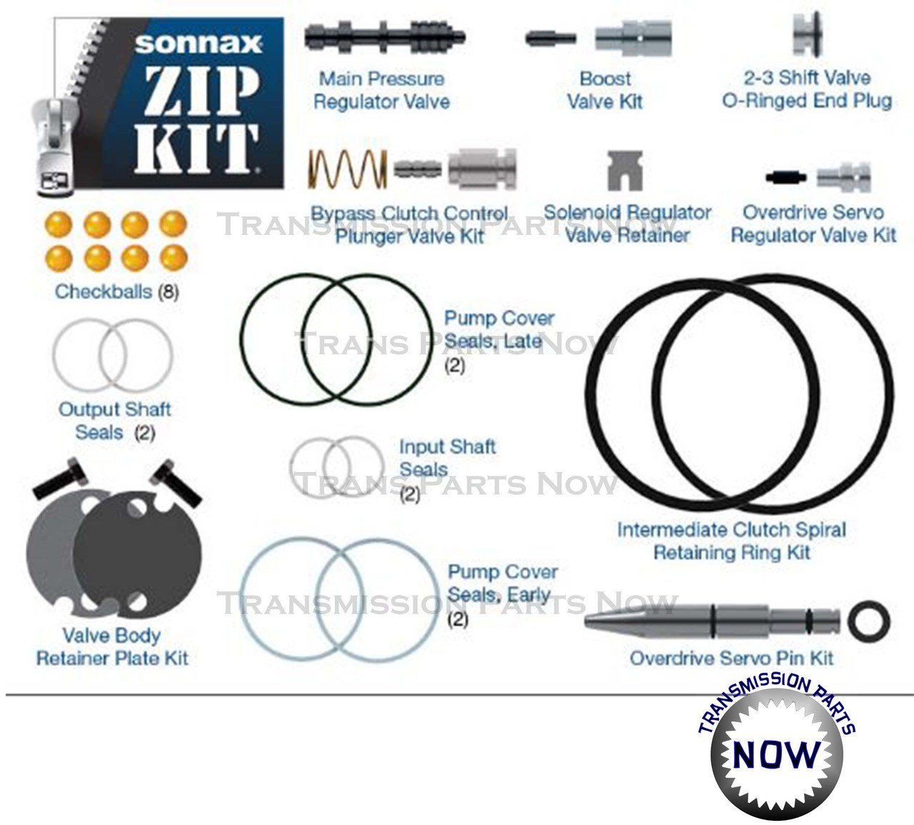 sonnax zip kits aode 4r75e zip quality valve body repairs and parts