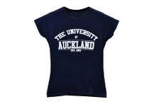 Varsity White Logo Navy Tee Women
