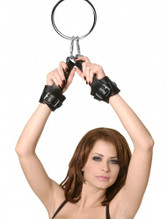 Fur Lined Leather Suspension Cuff Kit with Bondage Ring