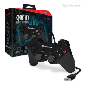 "Raise your mighty broadsword and defend your crest! The Hyperkin ""Brave Knight"", now improved for high performance, is a premium controller for the PS3, featuring 2 wide spectrum analog joysticks, pressure-sensitive eight-way directional pad, 4 pressure-sensitive shoulder buttons, 4 pressure-sensitive face buttons, force feedback, and a home button. The 6 ft. cable allows for easy movement around your console. It is compatible with all PS3 models, as well as PC/MAC via USB. Chivalry lives on through you.Raise your mighty broadsword and defend your crest! The Hyperkin ""Brave Knight"", now improved for high performance, is a premium controller for the PS3, featuring 2 wide spectrum analog joysticks, pressure-sensitive eight-way directional pad, 4 pressure-sensitive shoulder buttons, 4 pressure-sensitive face buttons, force feedback, and a home button. The 6 ft. cable allows for easy movement around your console. It is compatible with all PS3 models, as well as PC/MAC via USB. Chivalry lives on through you."