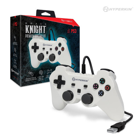 """Brave Knight"" Premium Controller for PS3/ PC/ Mac (White) - Hyperkin"