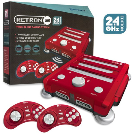 RetroN 3 Gaming Console 2.4 GHz Edition for Super NES®/ Genesis®/ NES® (Laser Red) - Hyperkin