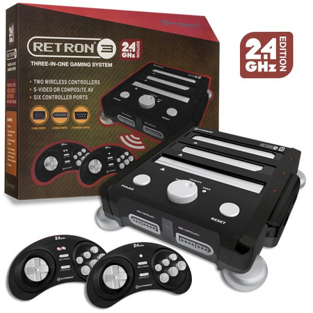 RetroN 3 Gaming Console 2.4 GHz Edition for SNES/ Genesis/ NES (Onyx Black) - Hyperkin