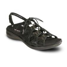 Revere Malibu Women's Ghillie Back Strap Sandal - Black Lizard