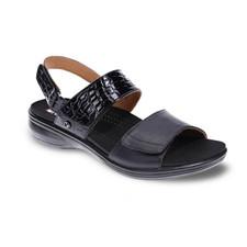Revere Como Women's Sandal Black Croc - 34COMOBCRW