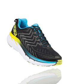 Hoka Men's Clifton 4 Black/Cyan/Citrus