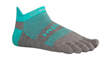 Injinji Run 2.0 Performance No Show Socks Teal/Grey