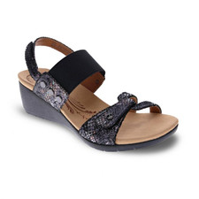 Revere Tahiti Women's Backstrap Wedge Black Metallic Python - 34TAHIBPY