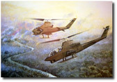 Chariots of Fire by Joe Kline - AH-1G Cobra Gunships Aviation Art
