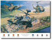 First With Guns by Rick Herter - Huey UH-1B, AH-1 Cobra , Boeing Apache Longbow Aviation Art