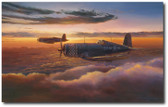 Heading Home Reflections by Rick Herter - F-4U Corsair Aviation Art