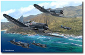 Pirates of the Pacific by Mark Karvon- Vought F4U Corsair Aviation Art