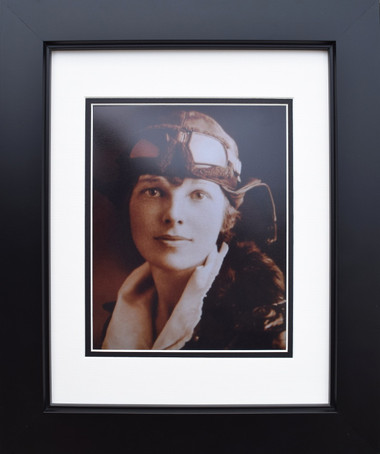 Amelia Earhart in Flight Gear - Sepia Aviation Art