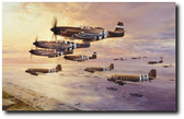 D-Day The Airborne Assault by Robert Taylor -  P- 51Bs , C-47s Aviation Art