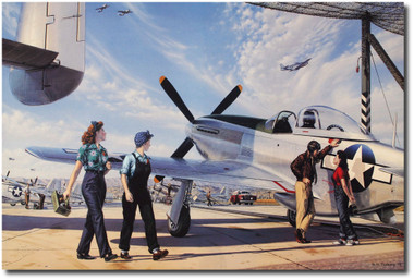 """Impressing the Night Shift """"Canvas Giclee"""" by Stan Vosburg - P-51 Mustang - Aviation Art"""