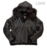 All Black B-3 Hooded Sheepskin Bomber Jacket Long