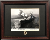 USS Missouri framed printed matted to include a piece of authentic WWII teak decking relic